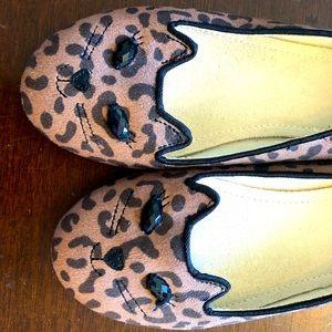 Girls Gap dress shoes leopard kitty cat slip on 2